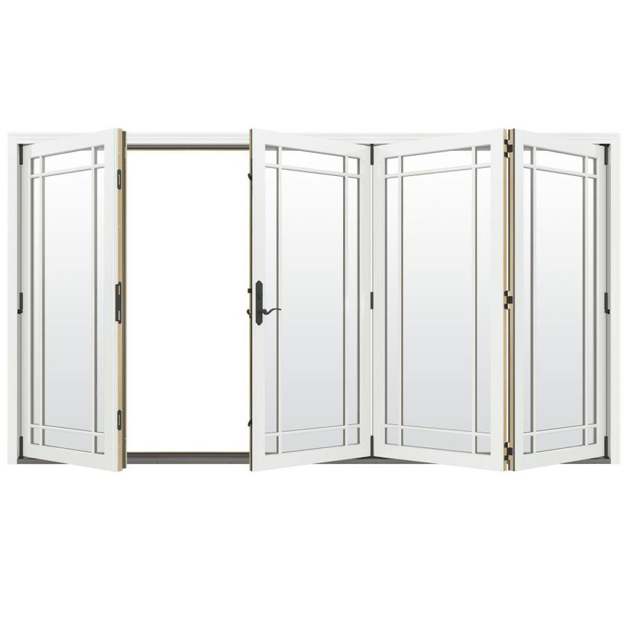 JELD-WEN W-4500 124.1875-in Grid Glass Brilliant White Wood Folding Outswing Patio Door