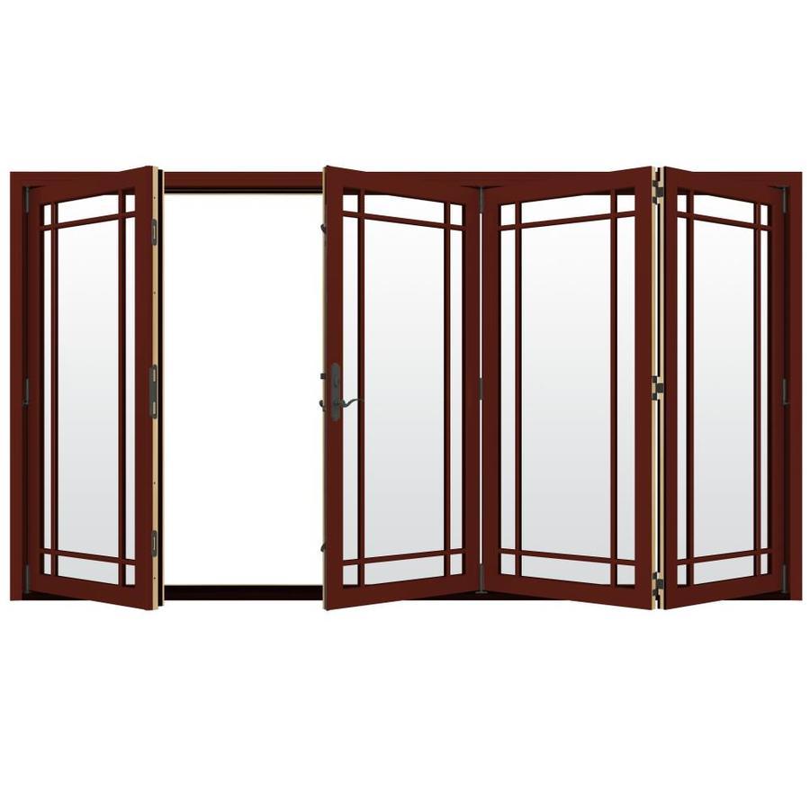JELD-WEN W-4500 124.1875-in Grid Glass Mesa Red Wood Folding Outswing Patio Door