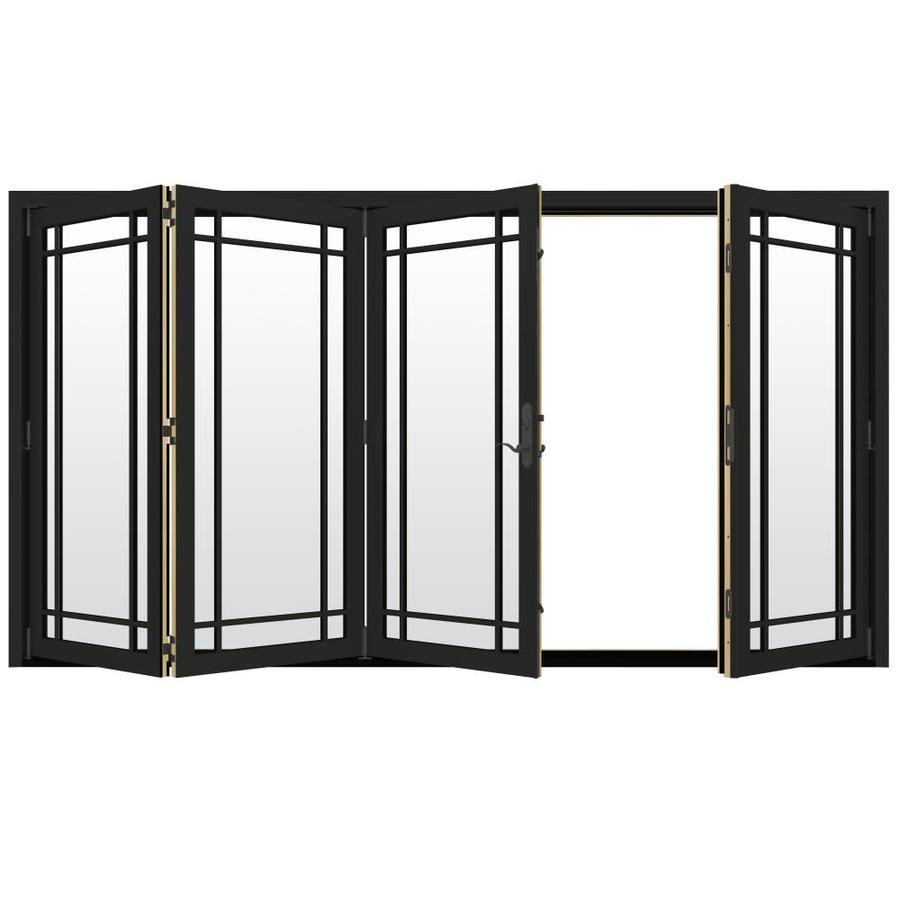 JELD-WEN W-4500 124.1875-in Grid Glass Chestnut Bronze Wood Folding Outswing Patio Door
