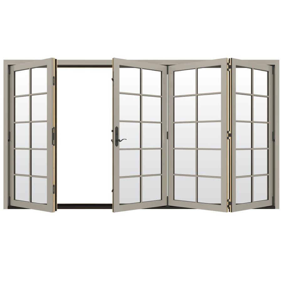 JELD-WEN W-4500 124.1875-in 10-Lite Glass Desert Sand Wood Folding Outswing Patio Door