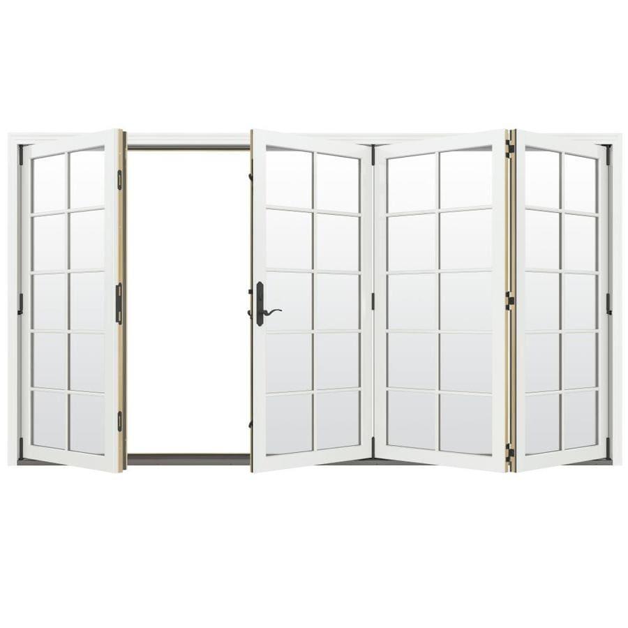 JELD-WEN W-4500 124.1875-in 10-Lite Glass Brilliant White Wood Folding Outswing Patio Door