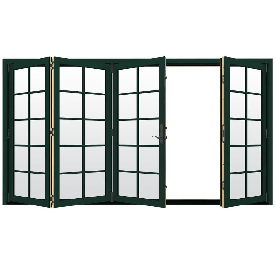 JELD-WEN W-4500 124.1875-in 10-Lite Glass Hartford Green Wood Folding Outswing Patio Door