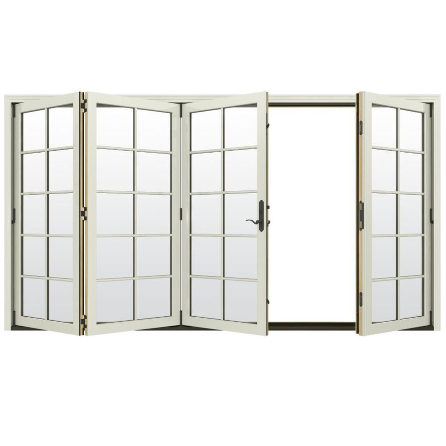 JELD-WEN W-4500 124.1875-in 10-Lite Glass French Vanilla Wood Folding Outswing Patio Door