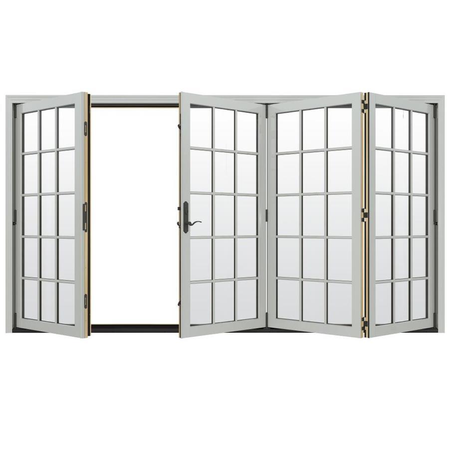 JELD-WEN W-4500 124.1875-in 15-Lite Glass Arctic Silver Wood Folding Outswing Patio Door