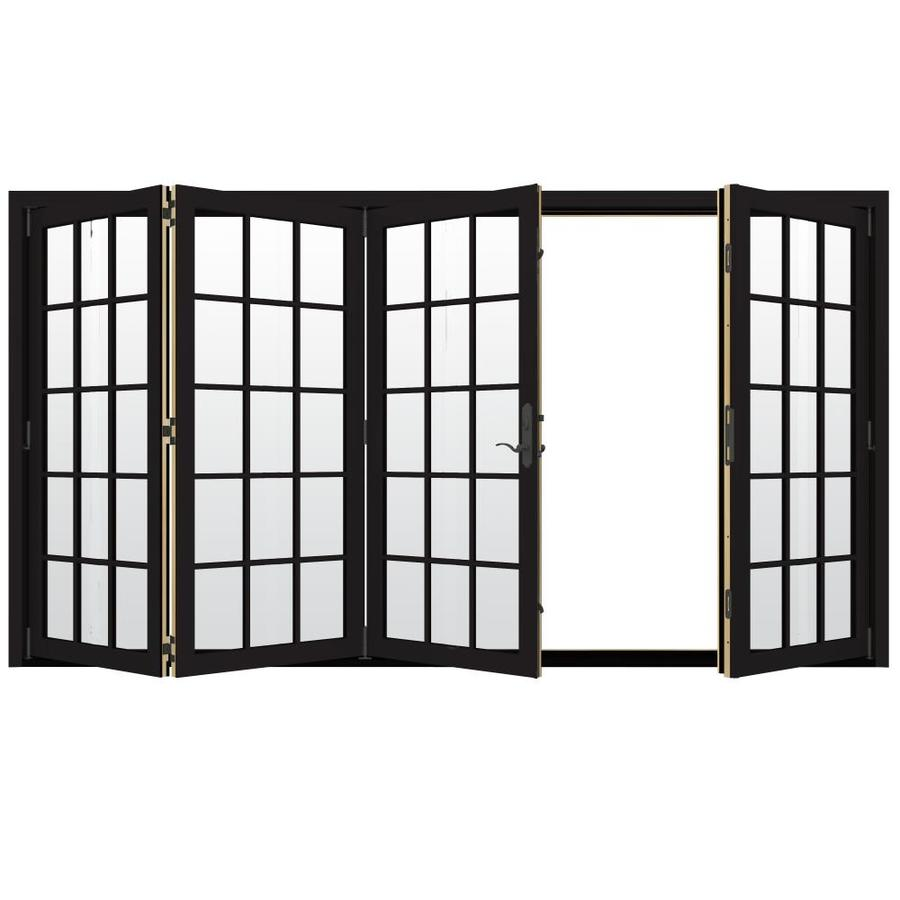 JELD-WEN W-4500 124.1875-in 15-Lite Glass Black Wood Folding Outswing Patio Door