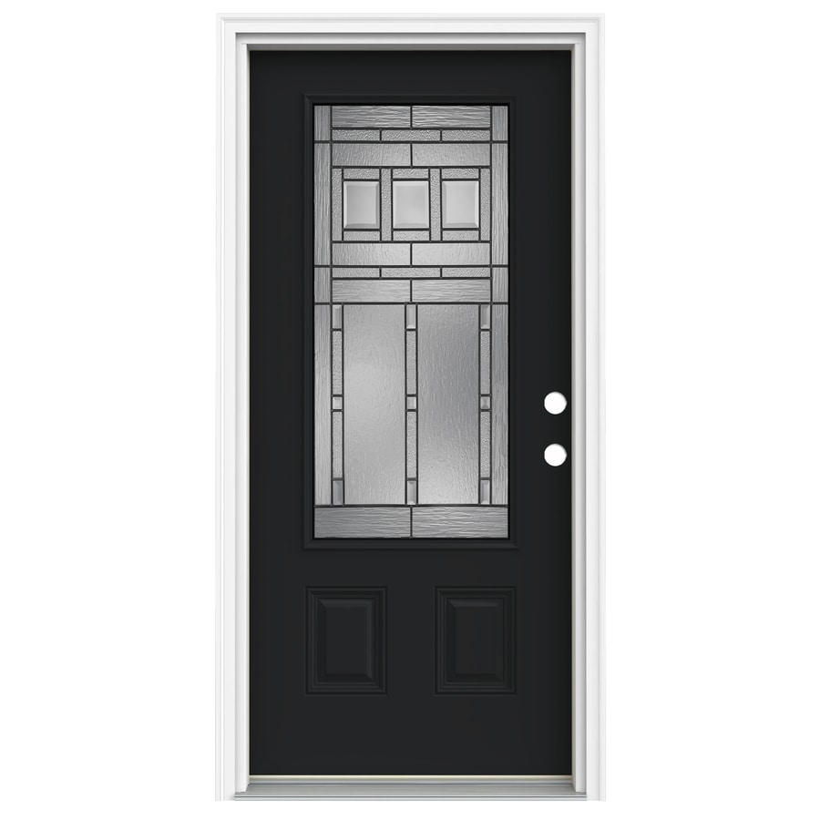ReliaBilt Craftsman Glass 1-Panel Insulating Core 3/4 Lite Left-Hand Inswing Peppercorn Fiberglass Painted Prehung Entry Door (Common: 32-in x 80-in; Actual: 33.5-in x 81.75-in)