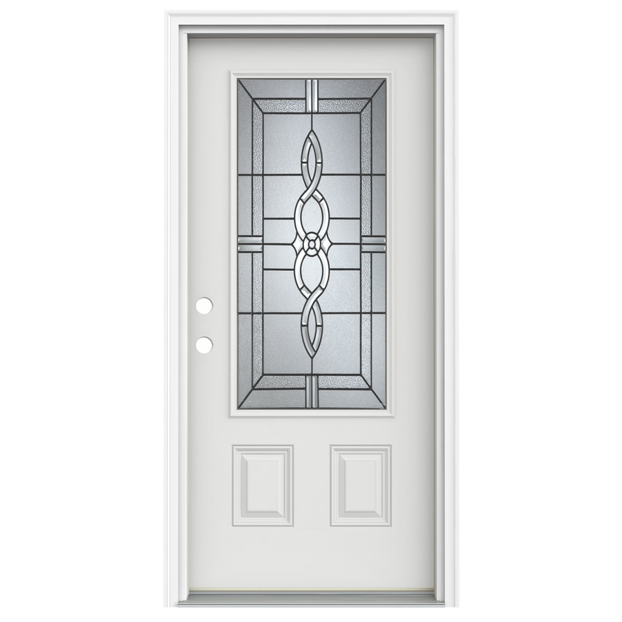 ReliaBilt Calista 1-Panel Insulating Core 3/4 Lite Right-Hand Inswing Arctic White Fiberglass Painted Prehung Entry Door (Common: 36-in x 80-in; Actual: 37.5-in x 81.75-in)