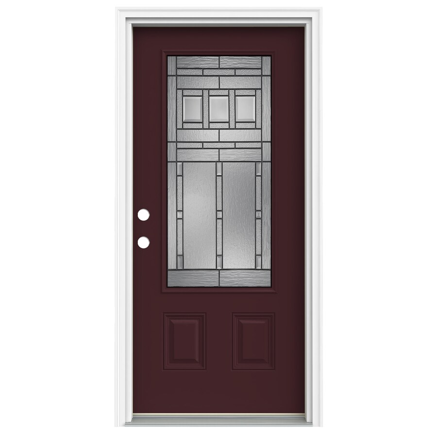 ReliaBilt Craftsman Glass 1-Panel Insulating Core 3/4 Lite Right-Hand Inswing Currant Fiberglass Painted Prehung Entry Door (Common: 36-in x 80-in; Actual: 37.5-in x 81.75-in)