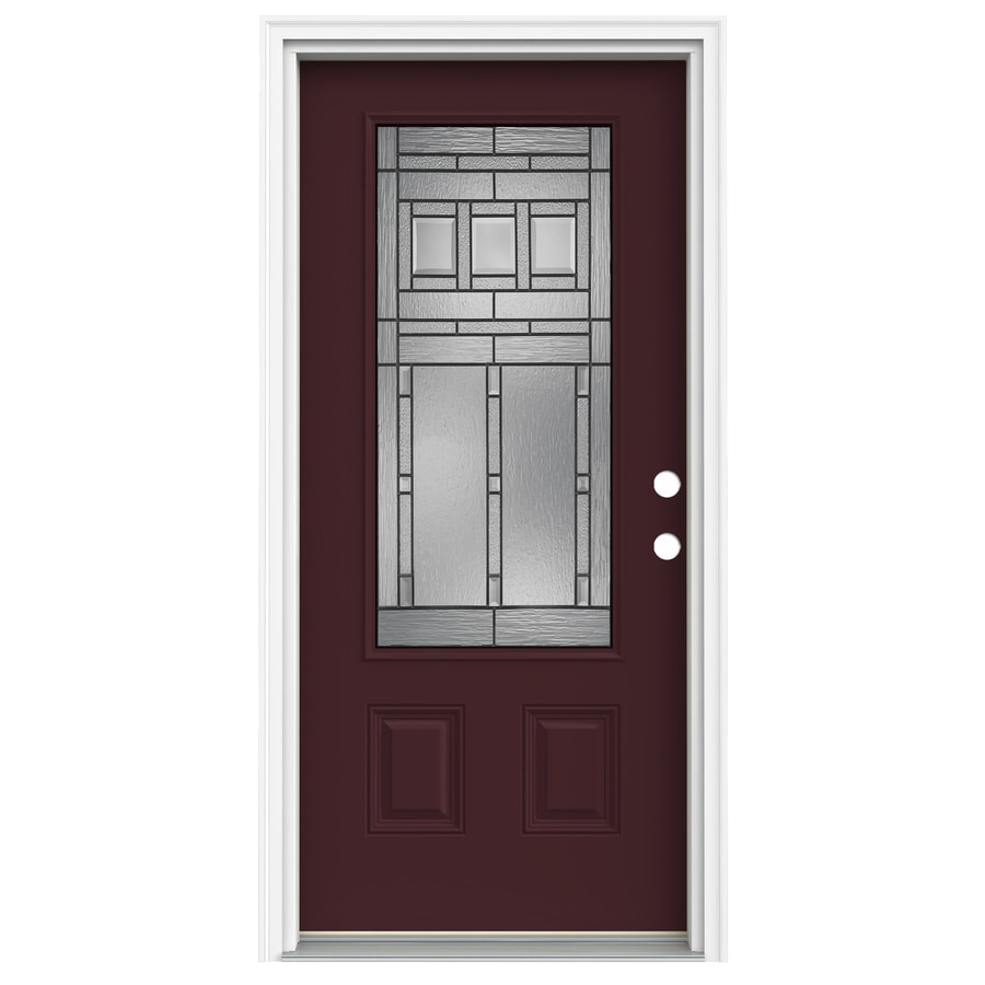 ReliaBilt Craftsman Glass 1-Panel Insulating Core 3/4 Lite Left-Hand Inswing Currant Fiberglass Painted Prehung Entry Door (Common: 36-in x 80-in; Actual: 37.5-in x 81.75-in)