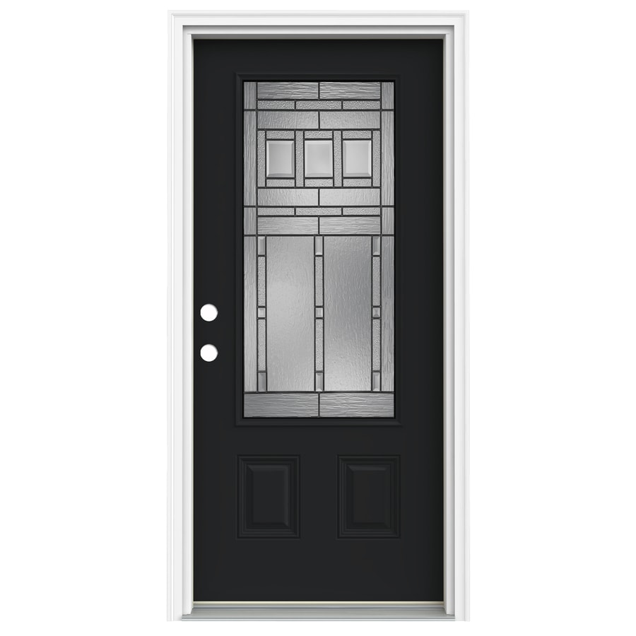 ReliaBilt Craftsman Glass 1-Panel Insulating Core 3/4 Lite Right-Hand Inswing Peppercorn Fiberglass Painted Prehung Entry Door (Common: 36-in x 80-in; Actual: 37.5-in x 81.75-in)