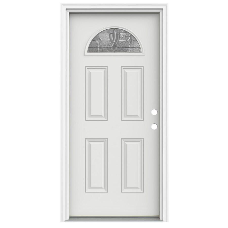 ReliaBilt Laurel 4-Panel Insulating Core Fan Lite Left-Hand Inswing Arctic White Fiberglass Painted Prehung Entry Door (Common: 32-in x 80-in; Actual: 33.5-in x 81.75-in)