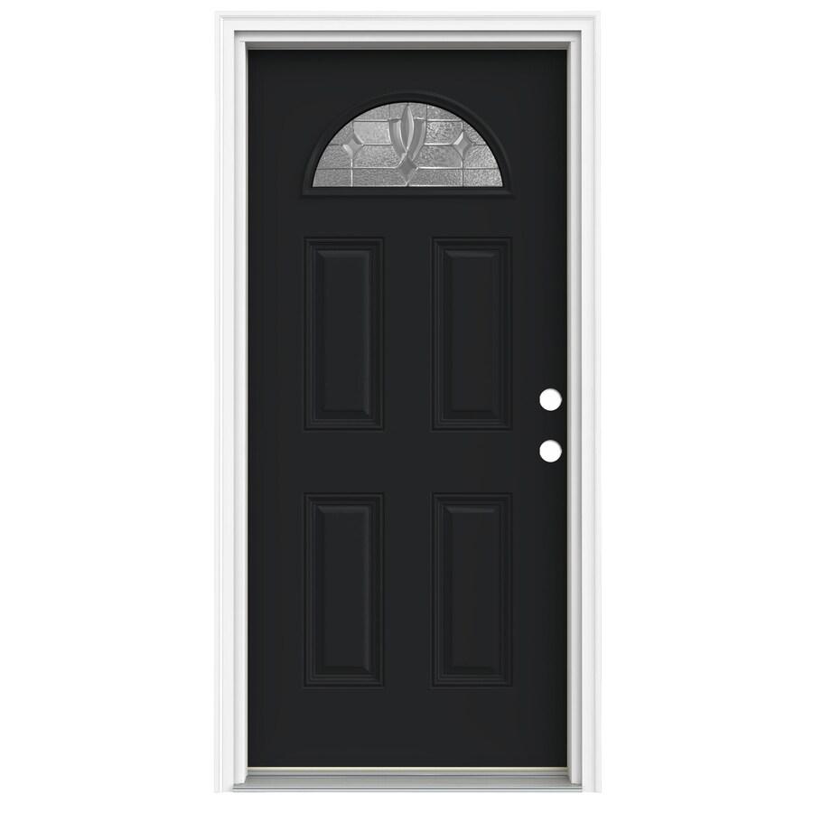 ReliaBilt Laurel 4-Panel Insulating Core Fan Lite Left-Hand Inswing Peppercorn Fiberglass Painted Prehung Entry Door (Common: 36-in x 80-in; Actual: 37.5-in x 81.75-in)