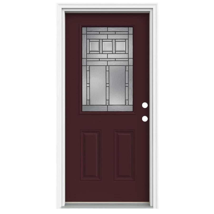 ReliaBilt Craftsman Glass 2-Panel Insulating Core Half Lite Left-Hand Inswing Currant Fiberglass Painted Prehung Entry Door (Common: 32-in x 80-in; Actual: 33.5-in x 81.75-in)