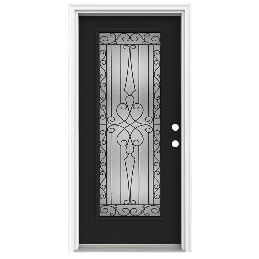 ReliaBilt Wyngate 1-Panel Insulating Core Full Lite Left-Hand Inswing Peppercorn Fiberglass Painted Prehung Entry Door (Common: 36-in x 80-in; Actual: 37.5-in x 81.75-in)