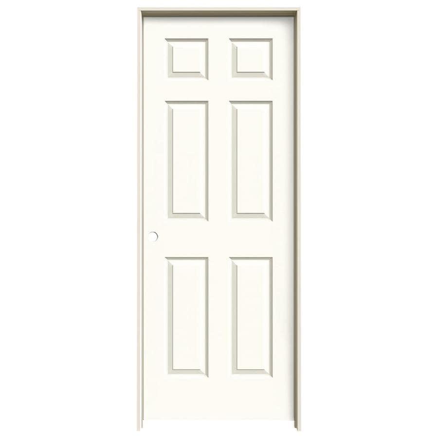 JELD-WEN White Prehung Solid Core 6-Panel Interior Door (Actual: 81.688-in x 25.562-in)