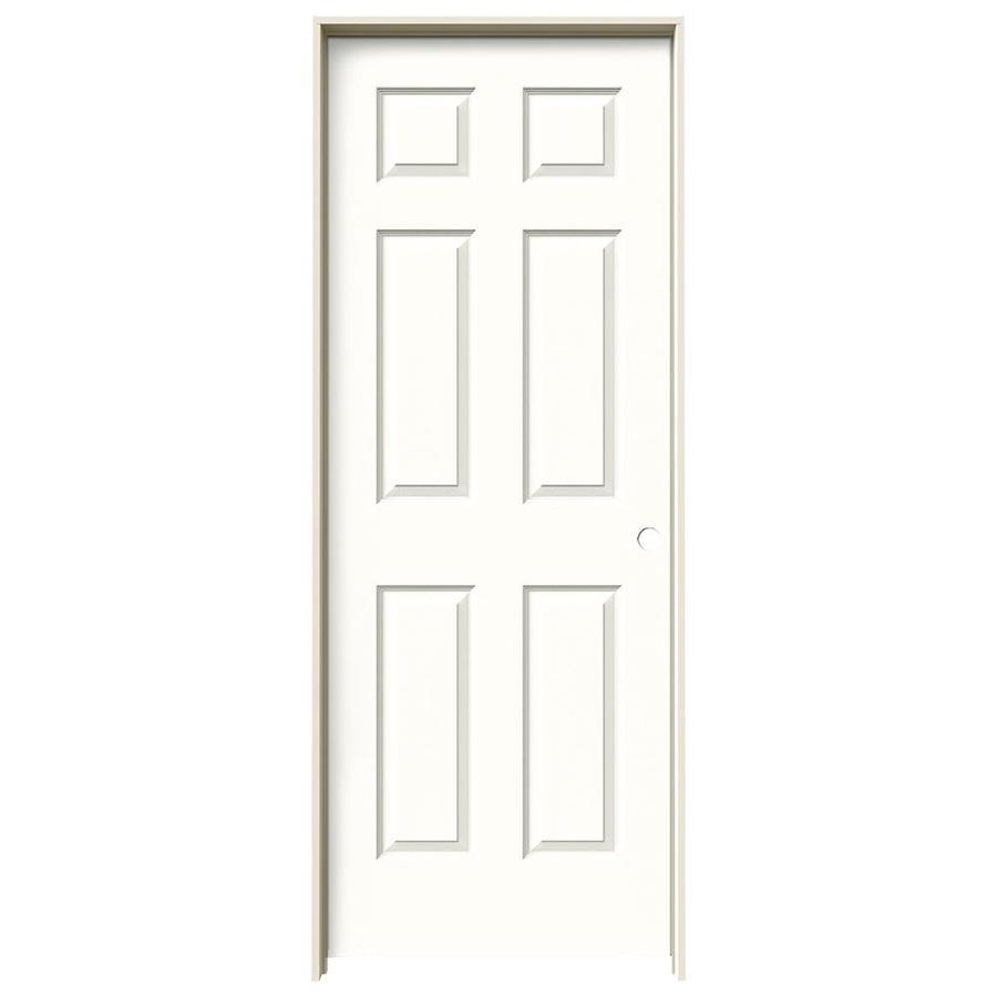 JELD-WEN Snow Storm Prehung Solid Core 6-Panel Interior Door (Actual: 81.688-in x 25.562-in)