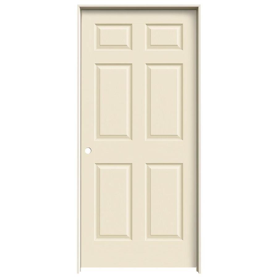 JELD-WEN Cream-N-Sugar Prehung Solid Core 6-Panel Interior Door (Actual: 81.688-in x 37.562-in)