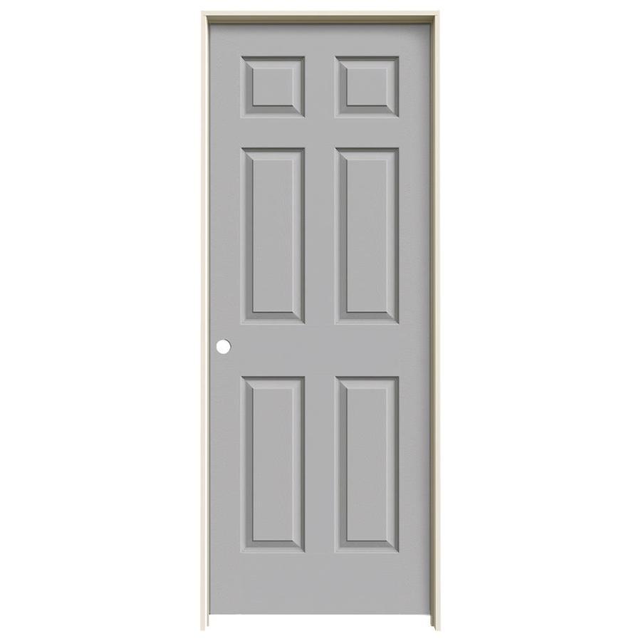 JELD-WEN Driftwood Prehung Solid Core 6-Panel Interior Door (Actual: 81.688-in x 25.562-in)