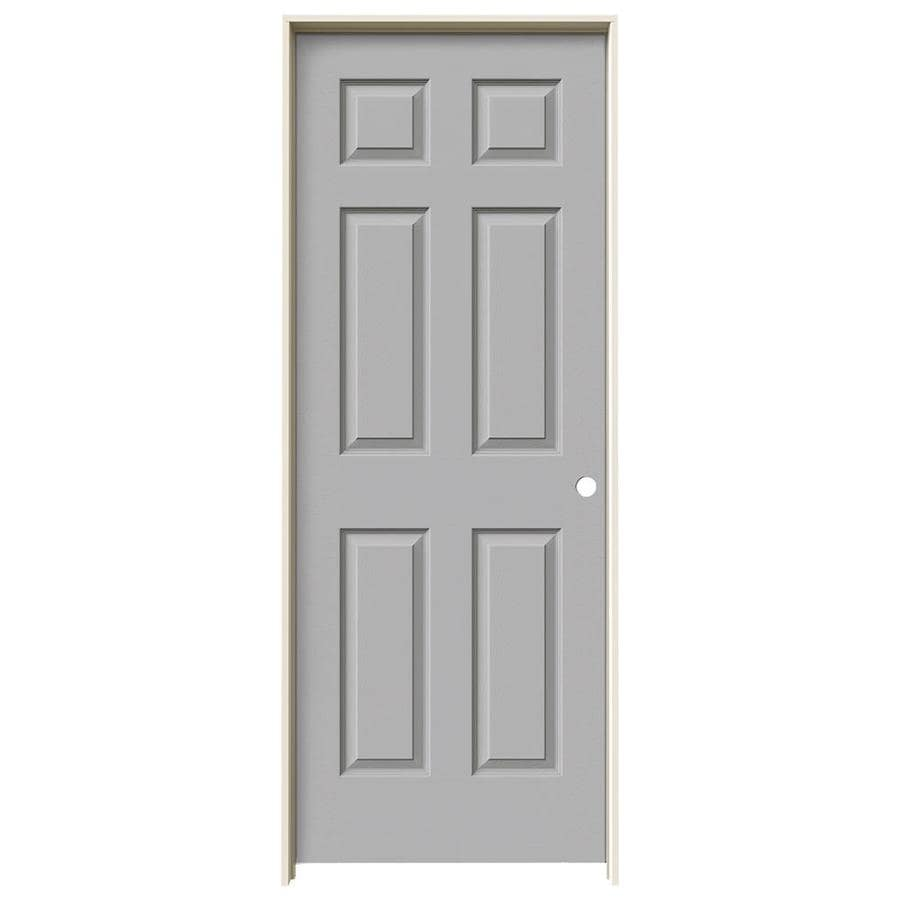 JELD-WEN Driftwood Prehung Solid Core 6-Panel Interior Door (Actual: 81.688-in x 29.562-in)