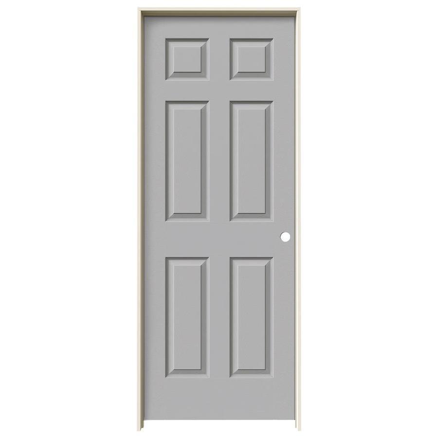 JELD-WEN Driftwood Prehung Solid Core 6-Panel Interior Door (Actual: 81.688-in x 31.562-in)