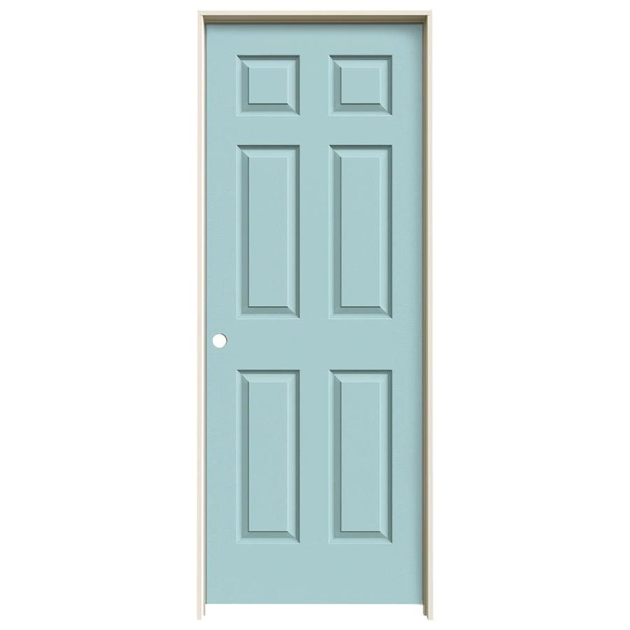 JELD-WEN Sea Mist Prehung Solid Core 6-Panel Interior Door (Actual: 81.688-in x 25.562-in)