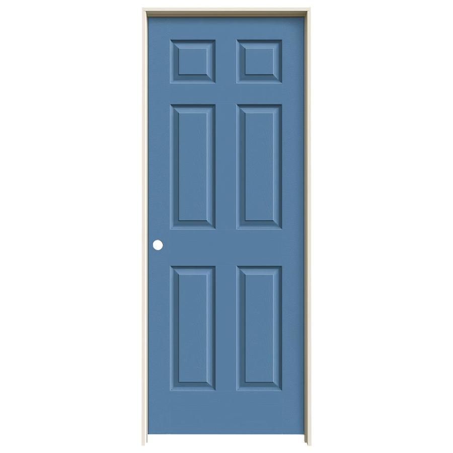 JELD-WEN Blue Heron Prehung Solid Core 6-Panel Interior Door (Actual: 81.688-in x 31.562-in)