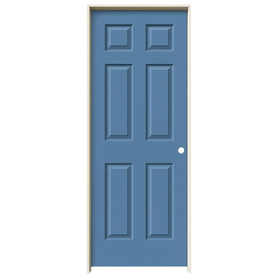 JELD-WEN Blue Heron Prehung Solid Core 6-Panel Interior Door (Actual: 81.688-in x 33.562-in)
