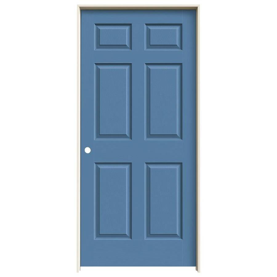 JELD-WEN Blue Heron Prehung Solid Core 6-Panel Interior Door (Actual: 81.688-in x 37.562-in)