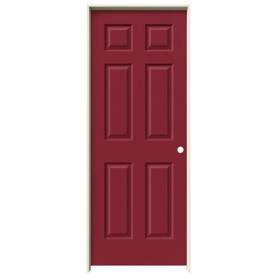 JELD-WEN Barn Red Prehung Solid Core 6-Panel Interior Door (Actual: 81.688-in x 29.562-in)