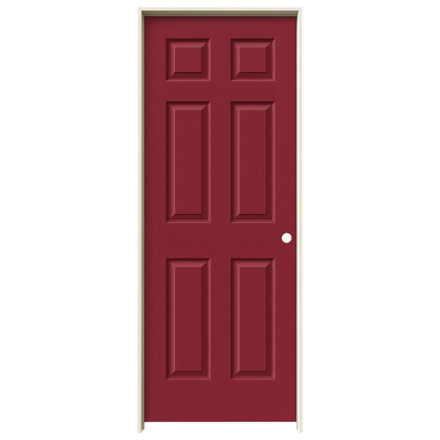 JELD-WEN Barn Red Prehung Solid Core 6-Panel Interior Door (Actual: 81.688-in x 33.562-in)