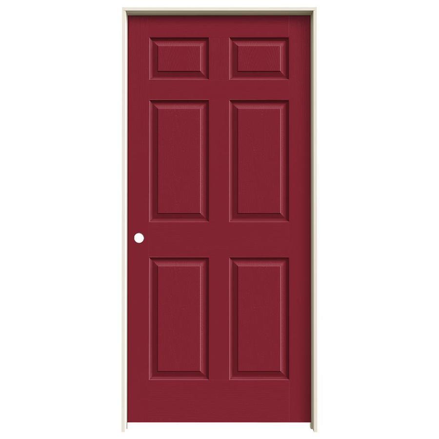 JELD-WEN Barn Red Prehung Solid Core 6-Panel Interior Door (Actual: 81.688-in x 37.562-in)