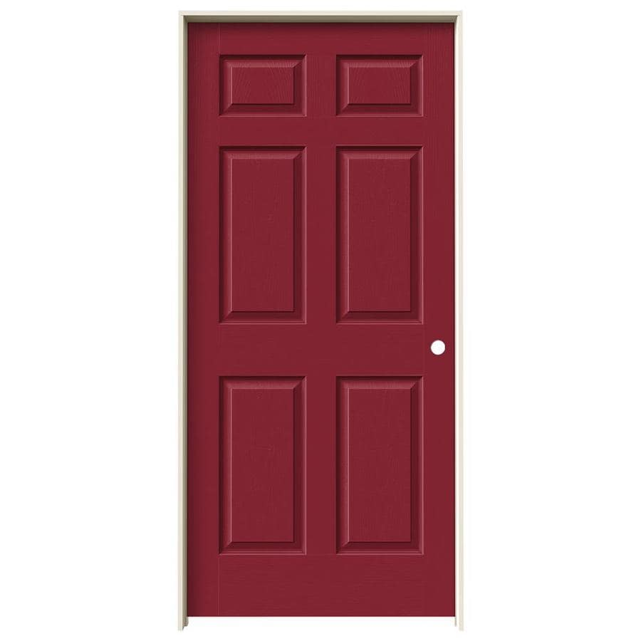 JELD-WEN Barn Red Prehung Solid Core 6-Panel Interior Door (Actual: 81.688-in x 37.562-in)