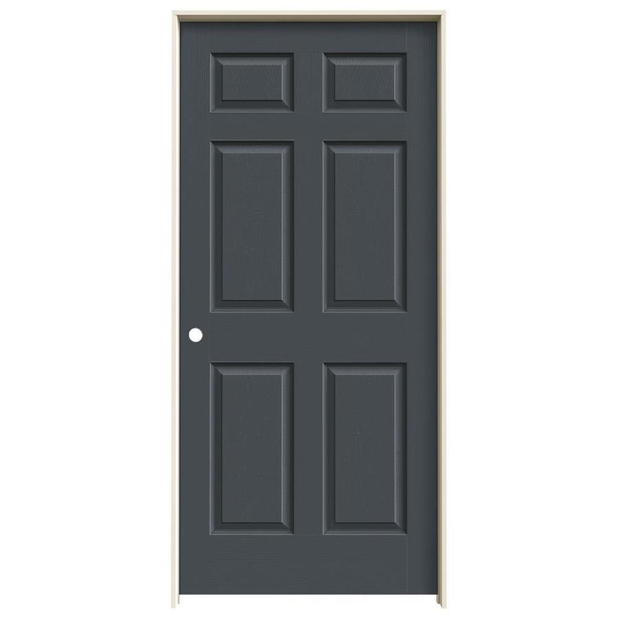 JELD-WEN Slate Prehung Solid Core 6-Panel Interior Door (Actual: 81.688-in x 37.562-in)