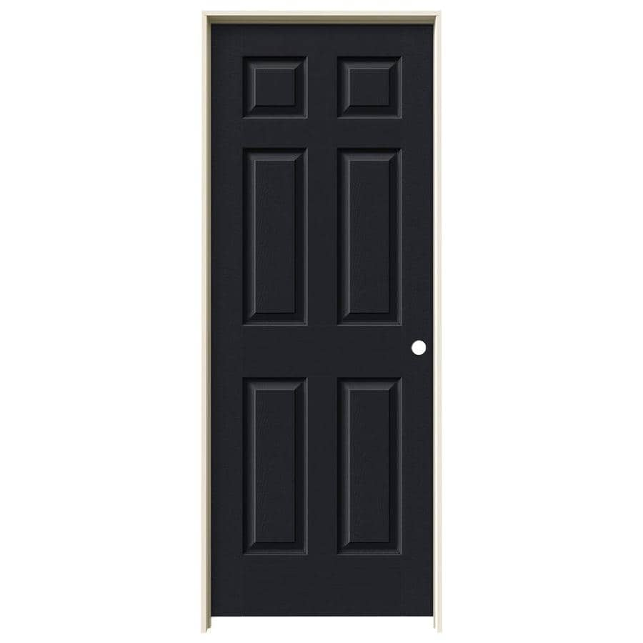 JELD-WEN Midnight Prehung Solid Core 6-Panel Interior Door (Actual: 81.688-in x 29.562-in)