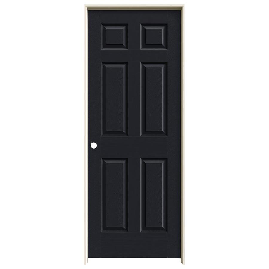 JELD-WEN Midnight Prehung Solid Core 6-Panel Interior Door (Actual: 81.688-in x 33.562-in)