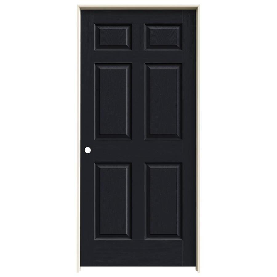 JELD-WEN Midnight Prehung Solid Core 6-Panel Interior Door (Actual: 81.688-in x 37.562-in)