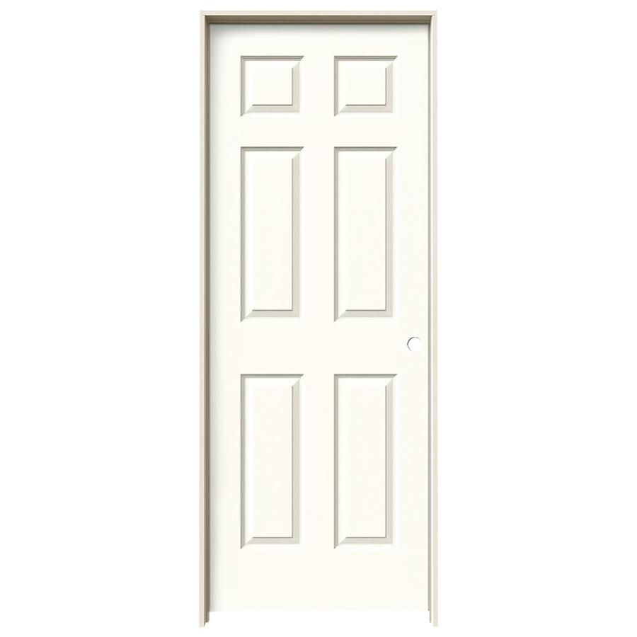 JELD-WEN White Prehung Hollow Core 6-Panel Interior Door (Actual: 81.688-in x 31.562-in)
