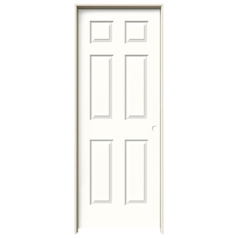 JELD-WEN Snow Storm Prehung Hollow Core 6-Panel Interior Door (Actual: 81.688-in x 31.562-in)