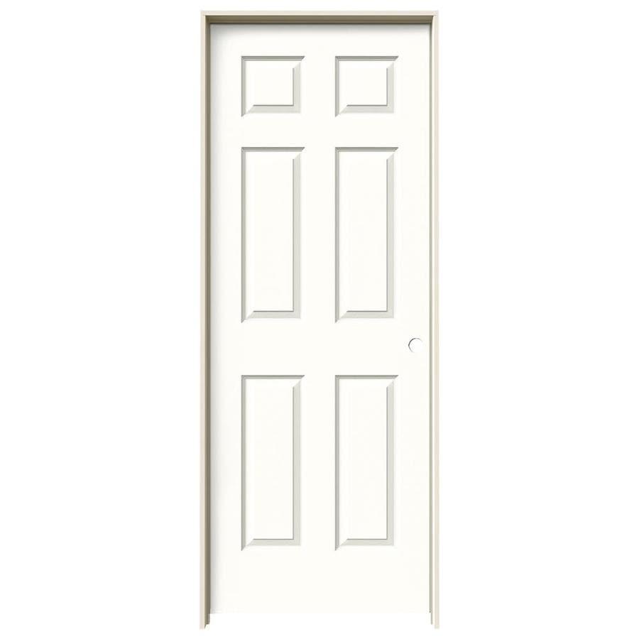 JELD-WEN Snow Storm Prehung Hollow Core 6-Panel Interior Door (Actual: 81.688-in x 33.562-in)