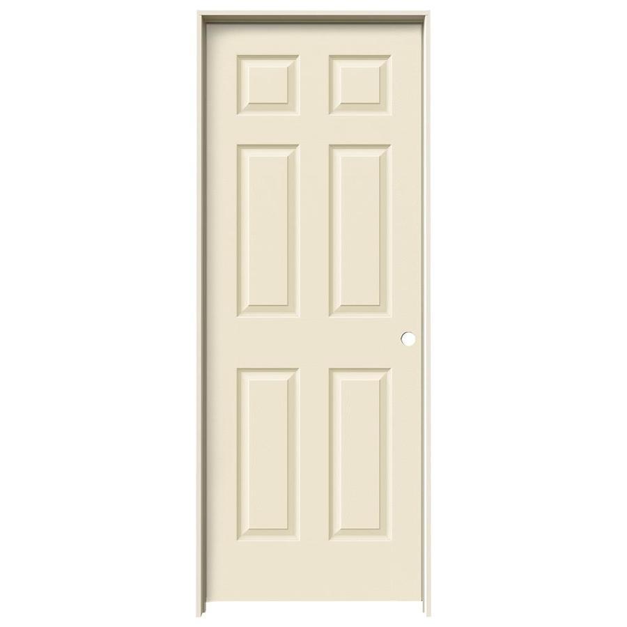 JELD-WEN Cream-N-Sugar Prehung Hollow Core 6-Panel Interior Door (Actual: 81.688-in x 31.562-in)