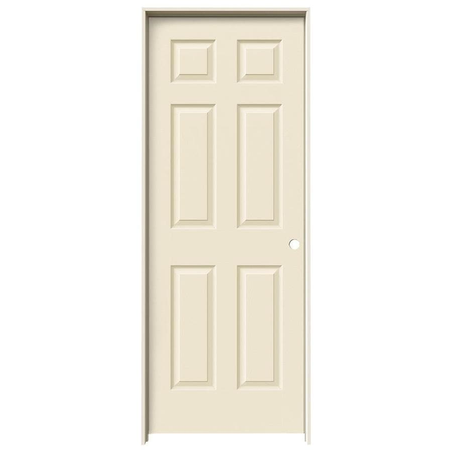 JELD-WEN Cream-N-Sugar Prehung Hollow Core 6-Panel Interior Door (Actual: 81.688-in x 33.562-in)
