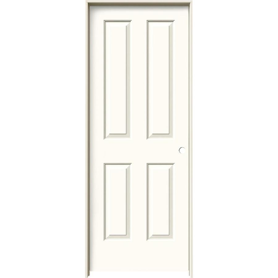 JELD-WEN White Prehung Hollow Core 4 Panel Square Interior Door (Common: 30-in x 80-in; Actual: 31.562-in x 81.688-in)