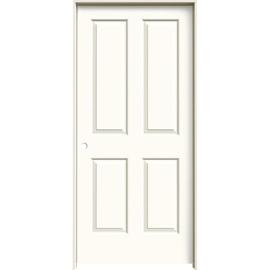 JELD-WEN White Prehung Hollow Core 4 Panel Square Interior Door (Common: 36-in x 80-in; Actual: 37.562-in x 81.688-in)
