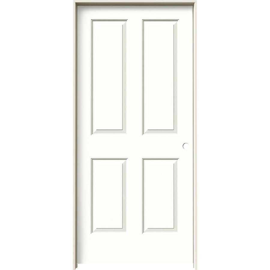 JELD-WEN Snow Storm Prehung Hollow Core 4 Panel Square Interior Door (Common: 36-in x 80-in; Actual: 37.562-in x 81.688-in)