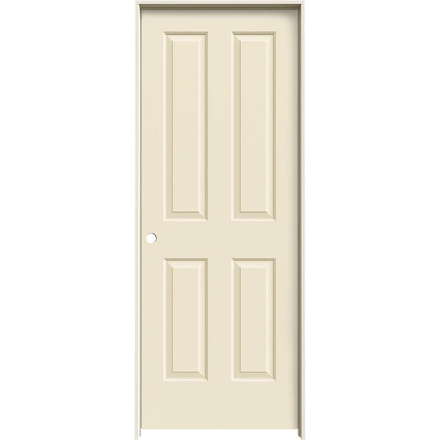 JELD-WEN Cream-N-Sugar Prehung Hollow Core 4 Panel Square Interior Door (Common: 30-in x 80-in; Actual: 31.562-in x 81.688-in)