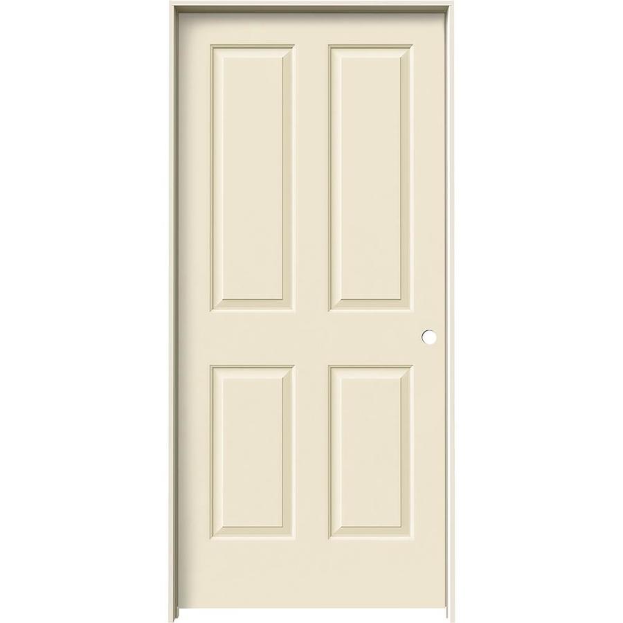 JELD-WEN Cream-N-Sugar Prehung Hollow Core 4 Panel Square Interior Door (Common: 36-in x 80-in; Actual: 37.562-in x 81.688-in)