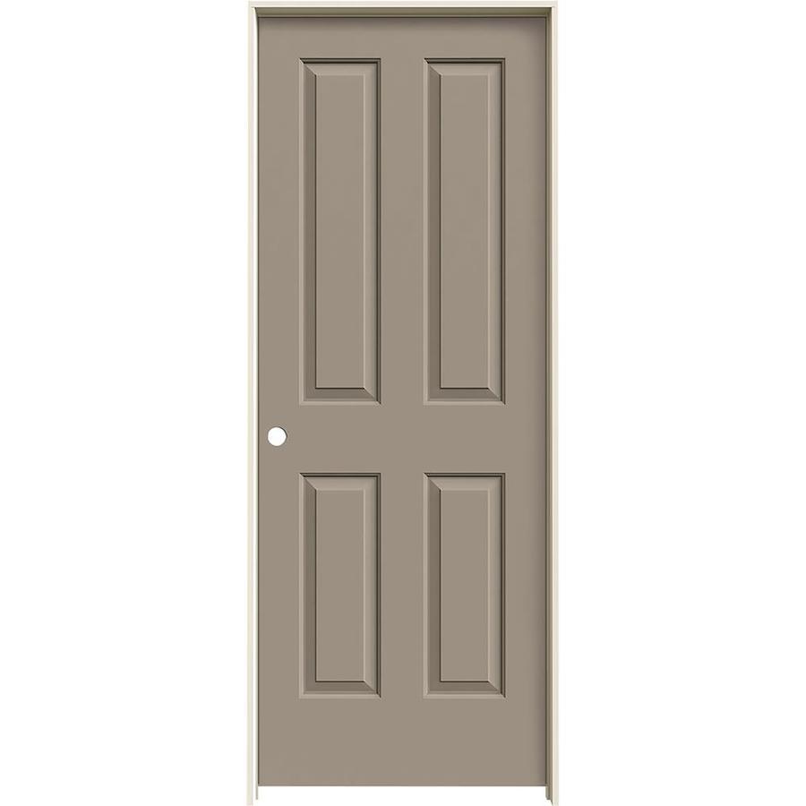 JELD-WEN Sand Piper Prehung Hollow Core 4 Panel Square Interior Door (Common: 32-in x 80-in; Actual: 33.562-in x 81.688-in)