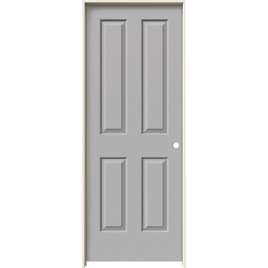 JELD-WEN Driftwood Prehung Hollow Core 4 Panel Square Interior Door (Common: 24-in x 80-in; Actual: 25.562-in x 81.688-in)