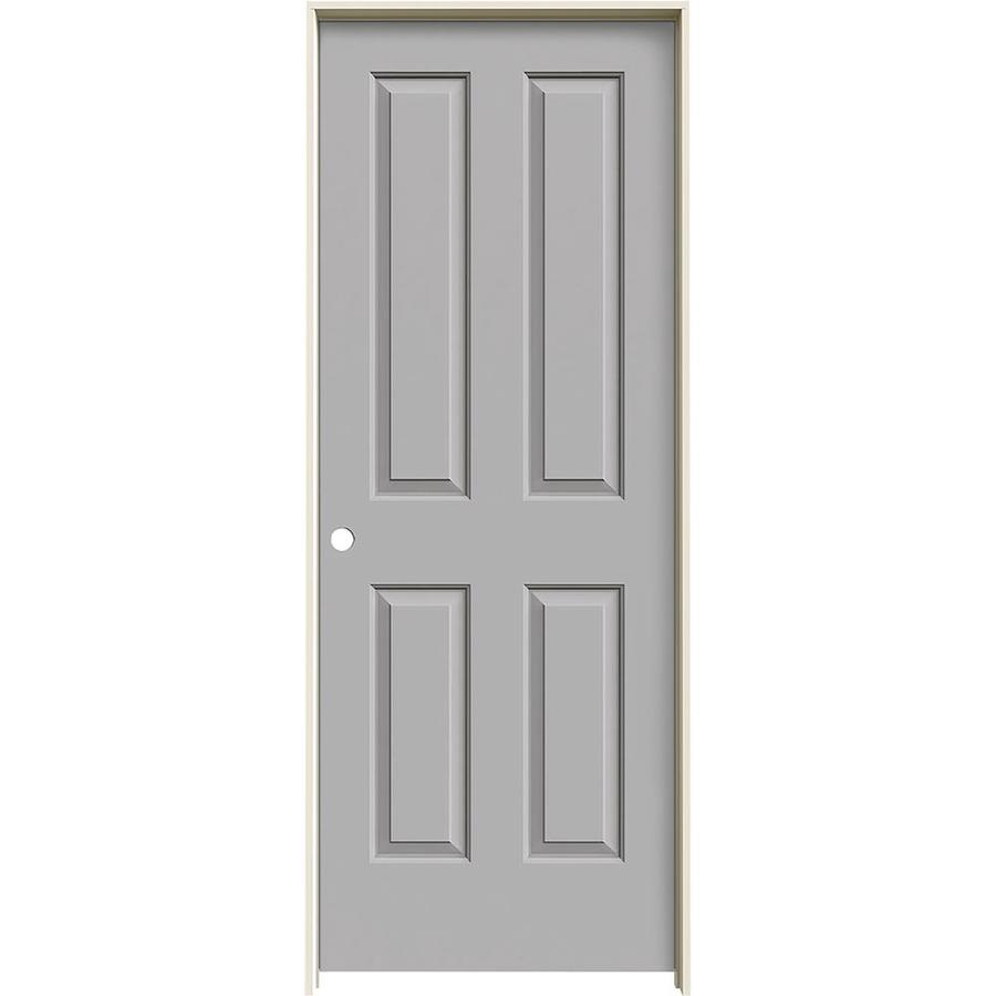 JELD-WEN Driftwood Prehung Hollow Core 4 Panel Square Interior Door (Common: 32-in x 80-in; Actual: 33.562-in x 81.688-in)