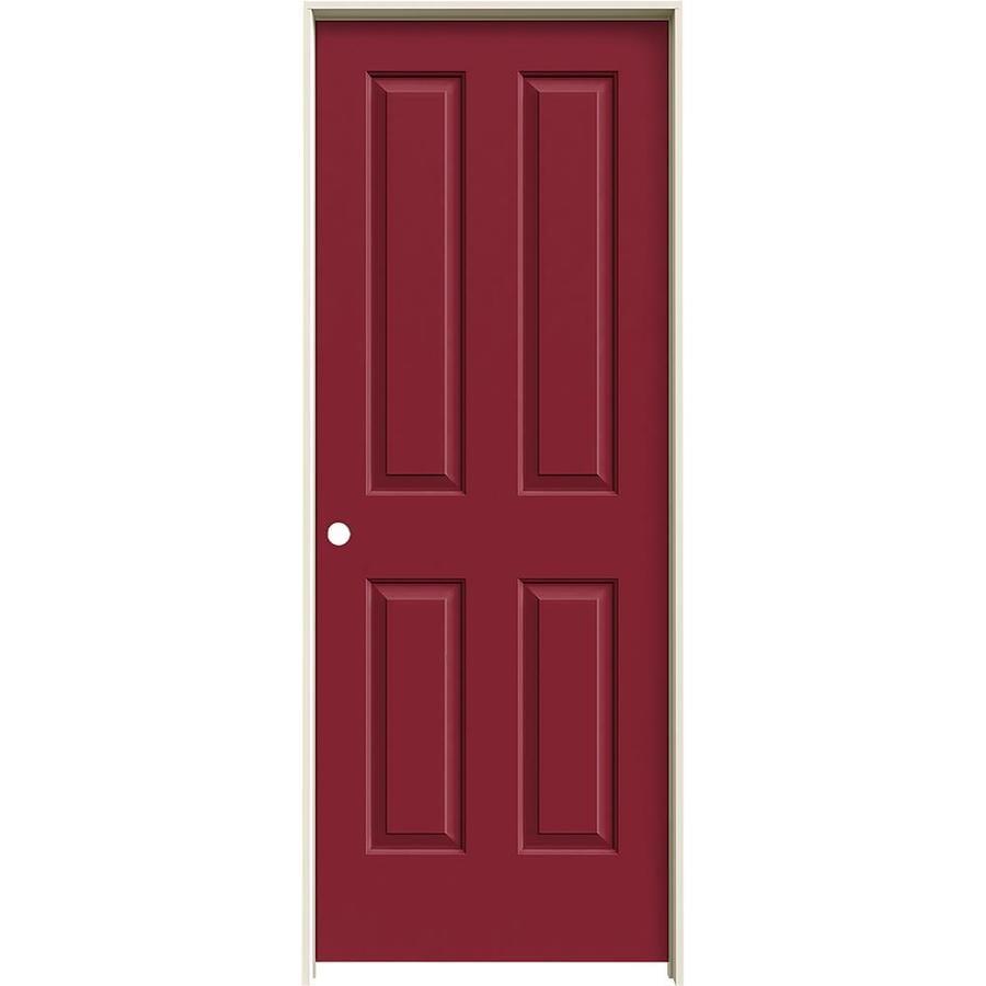 JELD-WEN Barn Red Prehung Hollow Core 4 Panel Square Interior Door (Common: 24-in x 80-in; Actual: 25.562-in x 81.688-in)